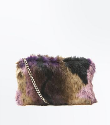 Burgundy Faux Fur Cross Body Bag