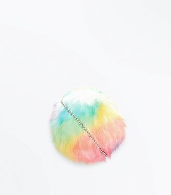 Multi Colour Faux Fur Round Cross Body Bag