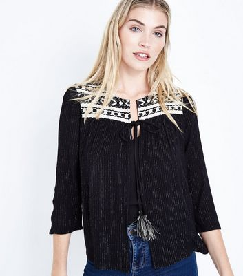 Black Glitter Embroidered Tassel Tie Cover Up
