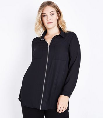 Curves Black Zip Front Long Sleeve Shirt