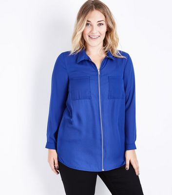 Curves Blue Zip Front Long Sleeve Shirt