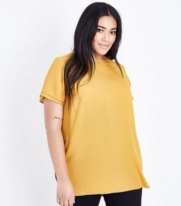 Curves Mustard Yellow Tiered Sleeve Woven Top