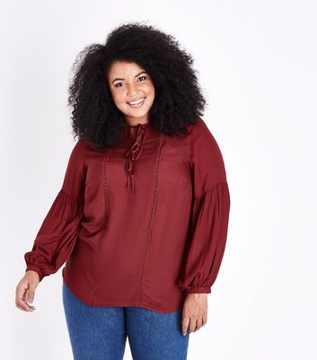 Curves Burgundy Lace Trim Tie Neck Blouse