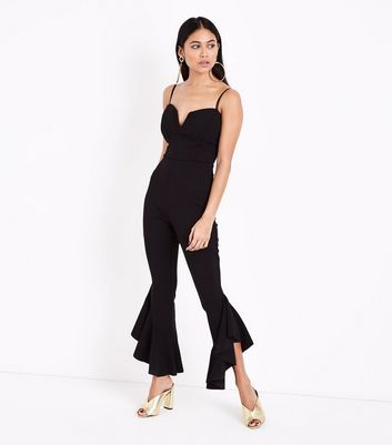 Petite Black Frill Hem Sweetheart Neck Jumpsuit