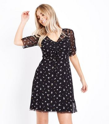 Petite Black Floral Ruched Front Mesh Dress