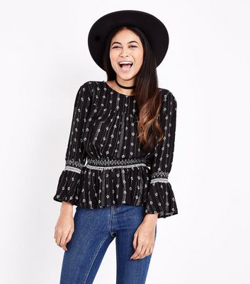 Petite Black Folk Print Metallic Stripe Blouse