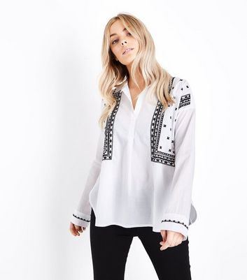 Petite White Folk Embroidered Overhead Shirt