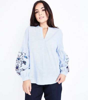 Petite Blue Floral Embroidered Sleeve Overhead Shirt