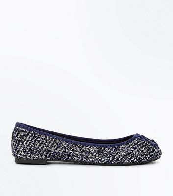Wide Fit Navy Boucle Ballet Pumps