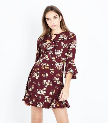 Urban Bliss Red Floral Print Frill Trim Front Dress