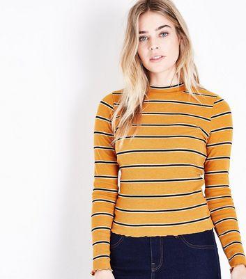 Mustard Yellow Stripe Long Sleeve Ribbed T-Shirt