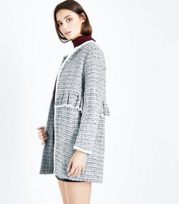 White Boucle Check Fringed Frill Trim Coat