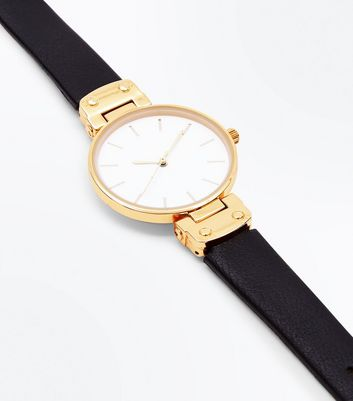 Gold Dial Leather Look Strap Watch