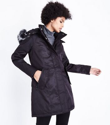 QED Black Faux Fur Trim Hooded Parka Jacket