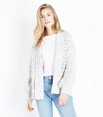 Off White Chenille Cable Knit Cardigan New Look