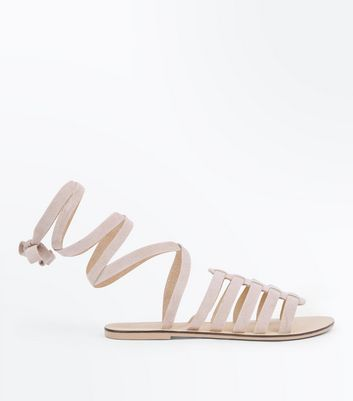 Nude Suede Ankle Tie Gladiator Sandals