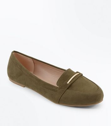 Wide Fit Khaki  Suedette Metal Trim Loafers