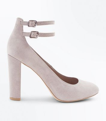 Wide Fit Grey Suedette Double Ankle Strap Courts