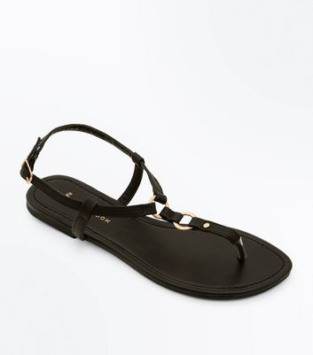 Wide Fit Black Ring Strap Flat Sandals