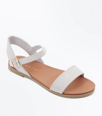 Wide Fit Grey Flat Sandals