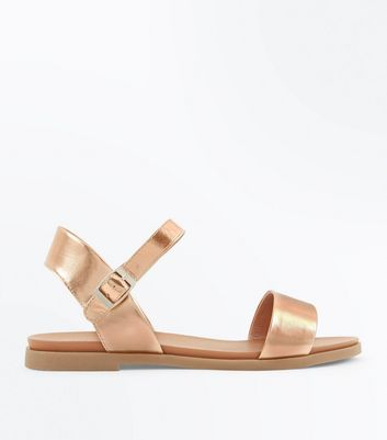 Wide Fit Gold Flat Sandals