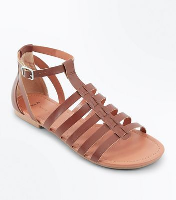 Wide Fit Tan Gladiator Flat Sandals