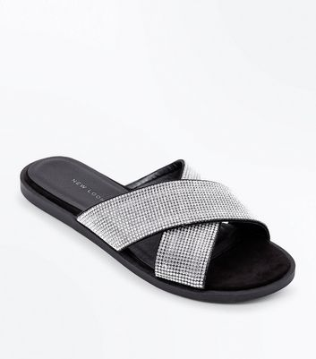 Wide Fit Black Diamante Cross Strap Sliders
