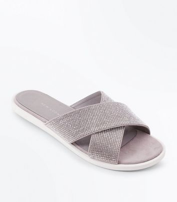 Wide Fit Grey Diamante Cross Strap Sliders