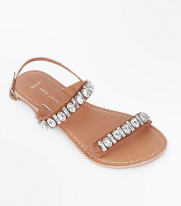 Wide Fit Tan Leather Gem Embellished Sandals