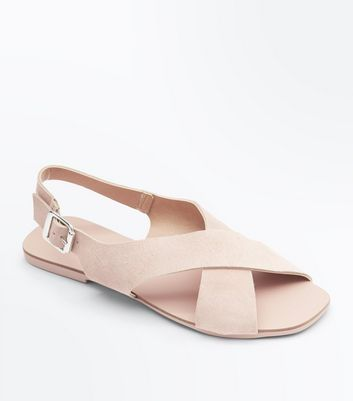 Wide Fit Pink Suede Cross Strap Sandals