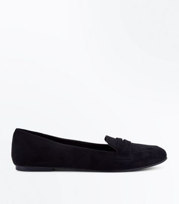 Black Suedette Penny Loafers