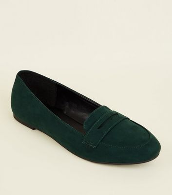 Dark Green Suedette Penny Loafers by New Look