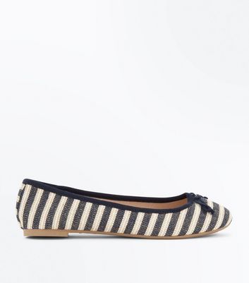 Blue Woven Stripe Bow Front Ballet Pumps