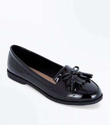 Black Patent Bow Tassel Front Loafers