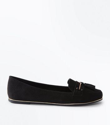 Black Faux Snakeskin Tassel Front Loafers by New Look
