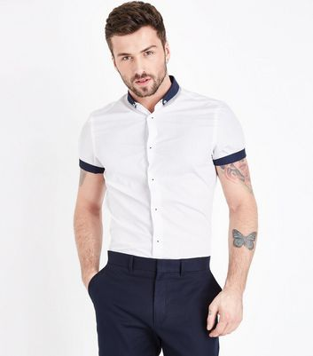 White Contrast Trim Poplin Shirt