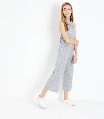 Teens Grey High Neck Jumpsuit