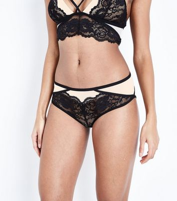 Black Strappy Lace Briefs