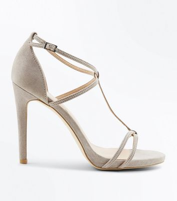 Grey Suedette T-Bar Strappy Stiletto Heel Sandals