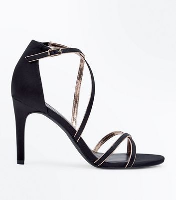 Black Satin Metallic Piped Strappy Sandals