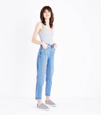 Bright Blue Cuffed Tori Mom Jeans