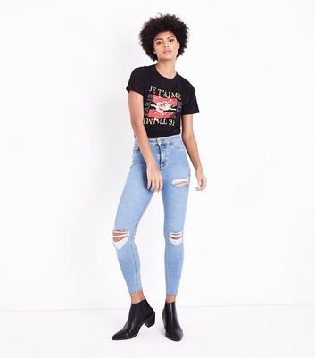 Pale Blue Ripped High Waist Super Skinny Hallie Jeans