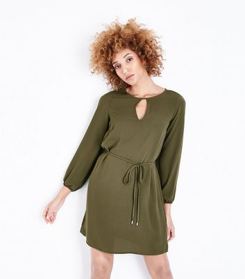 Khaki Balloon Sleeve Tunic Dress