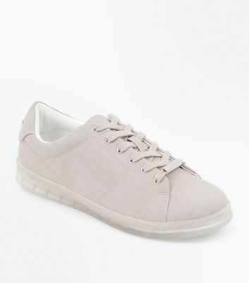 Grey Clear Sole Lace Up Trainers