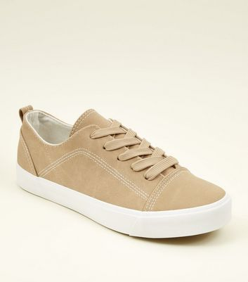 Mink Contrast Stitch Lace Up Trainers