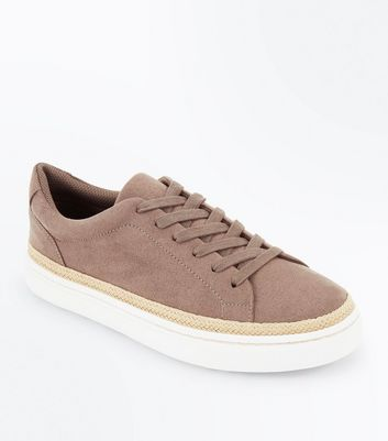 Light Brown Suedette Straw Trim Flatform Trainers