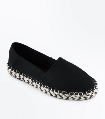 Black Canvas Monochrome Chunky Sole Espadrilles