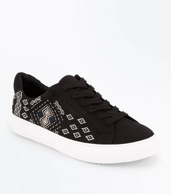 Black Suedette Aztec Embroidered Trainers