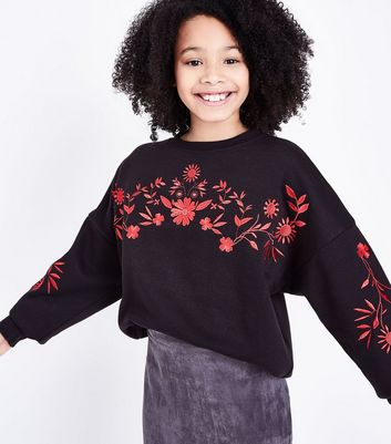 Teens Black Floral Embroidered Jumper