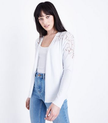 White Lace Yoke Cardigan